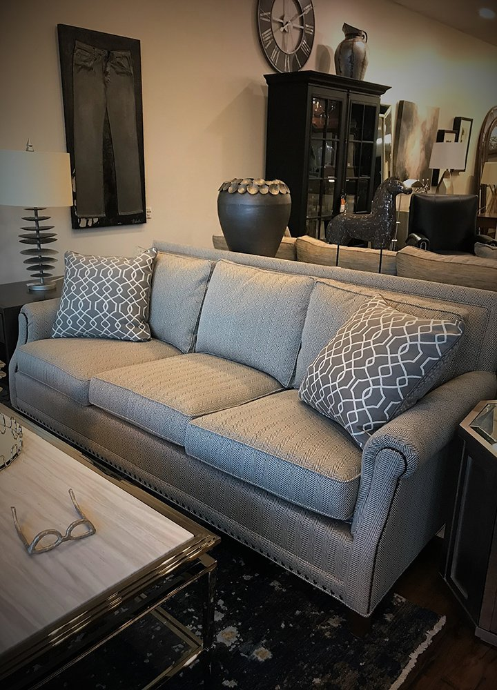 U201cGreigeu201d Herringbone Sofa